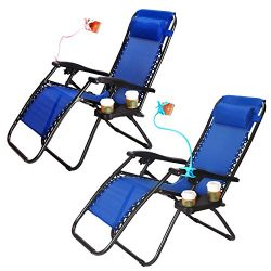 Set of 2 Zero Gravity Outdoor Lounge Chairs w/ Cup Holder with Mobile Device Slot Adjustable Fol ...