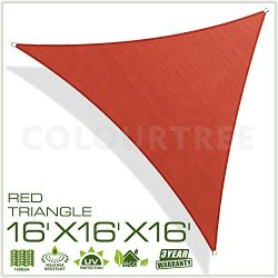ColourTree 16′ x 16′ x 16′ Sun Shade Sail Canopy  Triangle Merlot Red –  ...