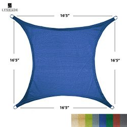 LyShade 12′ x 12′ Square Sun Shade Sail Canopy (Blue) – UV Block for Patio and ...