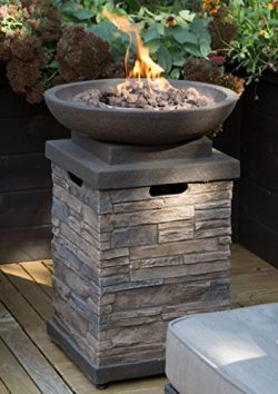 Realistic Stone-like Outdoor Patio Fire Pit Bowl with Free Cover. Get Ready for Entertainment in ...