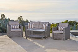 Solvista Outdoor Fully Woven 4-Piece Conversation Furniture Set All Weather Grey Wicker with Neu ...