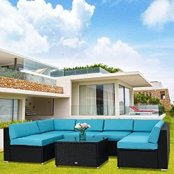 Kinbor 7 Pieces Garden Outdoor Patio Furniture PE Rattan Wicker Sofa Sectional Furniture Set Inc ...