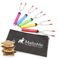 MalloMe Premium Marshmallow Roasting Sticks Set of 5 Smores Skewers & Hot Dog Fork 34 Inch R ...