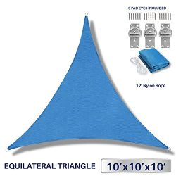 10′ x 10′ x 10′ Sun Shade Sail UV Block Fabric Canopy in Blue Triangle for Pat ...