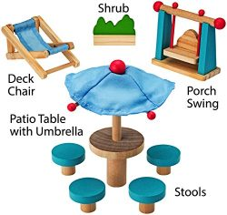 Dollhouse Furniture Dollhouse Accessories Wooden Patio Playset By Dragon Drew (8 PC Set)