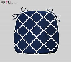 Chair Cushion 16 x 17 Inches Indoor/Outdoor Seat Pads Square (Set of 2, Navy, Quatrefoil Lattice ...