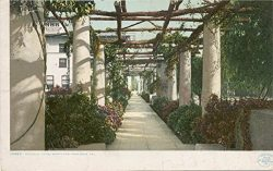Vintage Postcard Print | Pergola, Hotel Maryland, Pasadena, Calif., 1898 | Historical Antique Fi ...