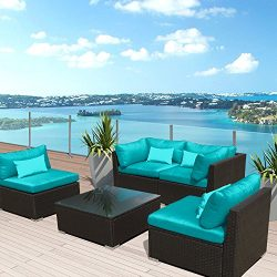 Modenzi 5G-U Outdoor Sectional Patio Furniture Espresso Brown Wicker Sofa Set (Turquoise)
