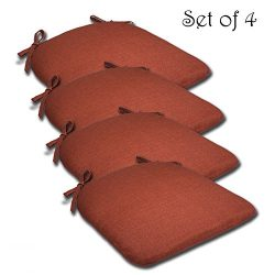 SET OF 4 16W x 17Dx 1.5H Spun Polyester Outdoor SEAT CUSHION in Husk Texture Brick by Comfort Cl ...