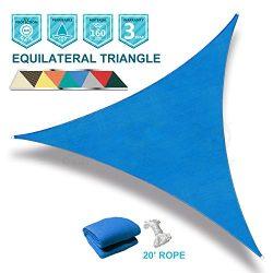 SoLGear 12'x12'x12′ Triangle Blue UV Block Sun Shade Sail Perfect for Patio Ou ...