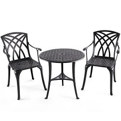 Nuu Garden Outdoor 3 Piece Cast Aluminum Patio Bistro Set with 26″ Round Table and Arm Cha ...