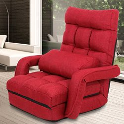 ZENY Folding Lazy Sofa Floor Chair Sofa Chaise Lounger Bed with Armrests and a Pillow, Red