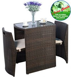 Outdoor Furniture – Patio Wicker Dining Table and Chairs With Cushions Set 3 Piece Brown & ...