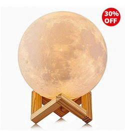 Sunba Youth 3D Lunar Moon Lamp with Stand, 5.7 inches Mystical Rechargeable Moon Night Light, Di ...