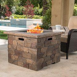 Stonecrest Patio Furniture ~ Outdoor Propane (Gas) Fire Pit 40,000BTU (Table)(Natural Stone/Square)