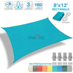 Patio Paradise 8′ x 12′ Solid Turquoise Green Sun Shade Sail Rectangle Square Canopy ...