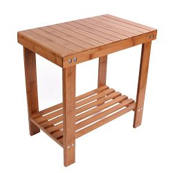 Utoplike Bamboo Bathtub Shower Seat Bench/Stool with Storage Shelf and Non slip Feet Indoor and  ...