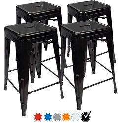 """24"""" Counter Height Bar Stools,! (BLACK) by UrbanMod, [Set Of 4] Stackable, Indoor/Outdoor, Kitch ..."""