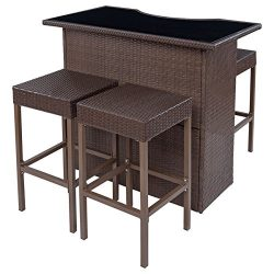New MTN-G 5 PCS Rattan Wicker Barstool Dining Table Set Bar Stool Garden Patio Furniture