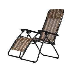HOME BI Adjustable Zero gravity chair with Pillow, Folding Lounge Recliner Chair for Outdoor/Ind ...
