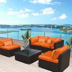 Modenzi 5G-U Outdoor Sectional Patio Furniture Espresso Brown Wicker Sofa Set (Orange)
