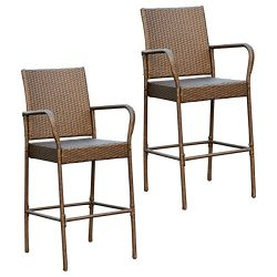 Victoria Young Rattan Bar Stool Outdoor Patio Chair Set of 2
