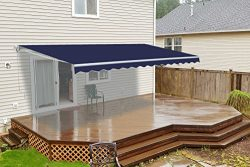 ALEKO AW8X6.5BLUE30 Retractable Patio Awning Sun Shade 8 x 6.5 Feet Blue