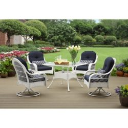 Better Homes and Gardens Azalea Ridge 5-Piece Patio Dining Set, Seats 4 – White