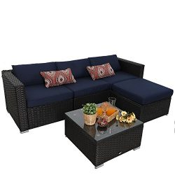 PHI VILLA 5-Piece Outdoor Rattan Sectional Sofa- Patio Wicker Furniture Set, Blue