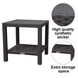 "Abba Patio Outdoor Wicker Square Side Table with Storage, 20""W x 20""D x 20""H,  ..."