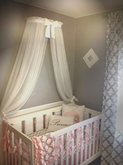 Princess Bed canopy CrOwN with FrEe White Sheer curtain Petite Bow cornice coronet teester Nurse ...