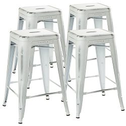24″ Counter Height Bar Stools,! (Distressed White) by UrbanMod, [Set Of 4] Stackable, Indo ...