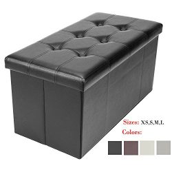 Bonnlo Leather Folding Organizer Seat Storage Ottoman Bench, Footrest Stool Coffee Table Cube Po ...