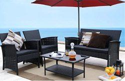 Patio Furniture Conversation Set Clearance 4 Piece Waterproof Wicker