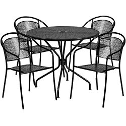 """Flash Furniture 35.25"""" Round Black Indoor-Outdoor Steel Patio Table Set with 4 Round Back  ..."""