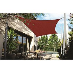 DOEWORKS Rectangle 10′ X 13′ Sun Shade Sail with Stainless Steel Hardware Kit, UV Bl ...