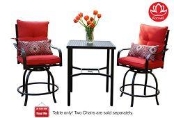 Kozyard Corona 360 Degree Swivel Two Bar Chairs and Table Bistro Sets