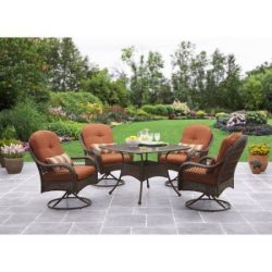 Better Homes and Gardens Azalea Ridge 5-Piece Patio Dining Set, Seats 4 – Burnt Orange