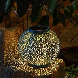 TAKEME Solar Lantern, Outdoor Garden Lights,Metal Waterproof LED Hanging Lights Decorative Lamp  ...