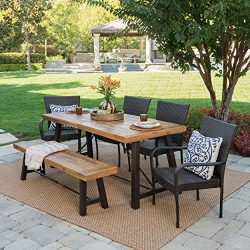 Great Deal Furniture Salla Outdoor 6 Piece Teak Finished Acacia Wood Dining Set with Multibrown  ...