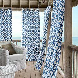 Marin Contemporary Print Indoor/Outdoor Grommet Top Single Panel Window Curtain, Lattice Ironwor ...