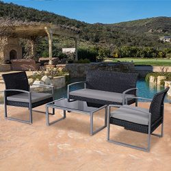 Patio Furniture Set Clearance Conversation 4 Piece Waterproof Wicker