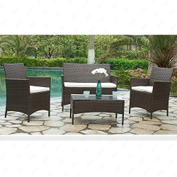 Mecor Outdoor Rattan Wicker Patio Furniture Set Sectional Cushioned Sofa & Table Garden/Back ...