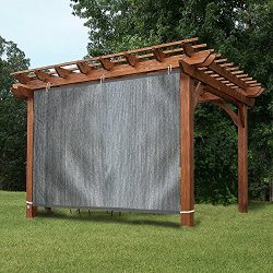 EZ2hang Outdoor Shade Cloth New Design Vertical Side Wall Panel for Patio/Pergola/Window 6x8ft Grey