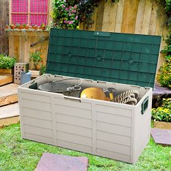 LAZYMOON Outdoor Patio Deck Box Garage Storage Backyard Tool Shed Container, Gray and Green