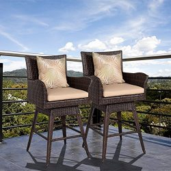 Sundale Outdoor Patio Garden Wicker Swivel Bar Stool with Cushion and Throw Pillow, 2PCS Set