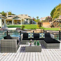 Cloud Mountain 6 Piece Rattan Wicker Furniture Set Outdoor Patio Garden Sectional Sofa Set Cushi ...
