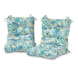 Greendale Home Fashions Outdoor Seat/Back Chair Cushion in Painted Paisley (set of 2), Baltic