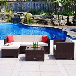 Cloud Mountain 6 PC Rattan Wicker Furniture Set Outdoor Backyard Patio Garden Sectional Cushione ...