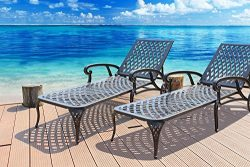 HOMEFUN Outdoor Patio Furniture Set Cast Aluminum Wheeled Chaise Lounge Set in Antique Bronze (S ...